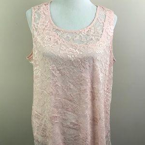 NEW Alfani Pink Lace Sleeveless Blouse Size 2X